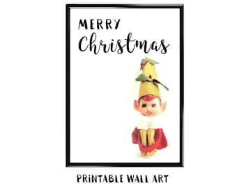 Christmas Print Wall Art Printable Greeting Card Vintage Kneehugger Holiday Shelf Elf Digital Download 5x7 8x10 A4 A5
