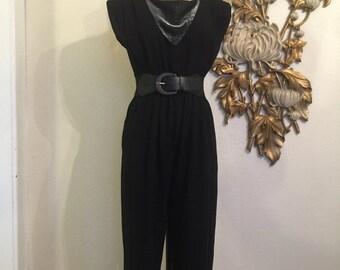 Fall sale 1980s jumpsuit black jumpsuit 80s pantsuit size medium vintage jumpsuit lurex jumpsuit 34 bust