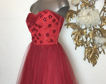 1950s dress party dress tulle dress size medium strapless dress appliqué dress cupcake dress red dress