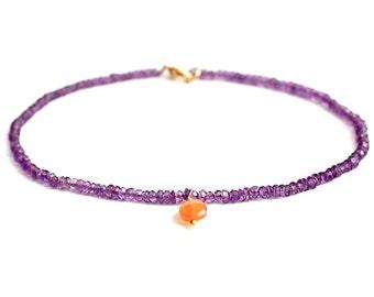 Amethyst Bracelet/Carnelian Drop/Beaded Bracelet/Beaded Jewelry/Handmade Jewelry/Beaded Amethyst/February Birthstone/Gift for Her/Bracelet