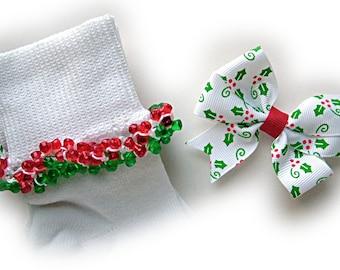 Kathy's Beaded Socks - Holly Socks and Bow, holiday socks, red socks, green socks, Christmas socks