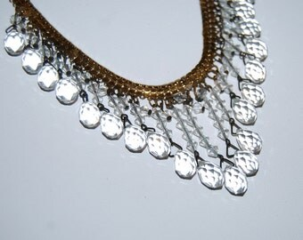 Vintage crystal bead supply repurpose 50s faceted teardrop chandelier crystal beads upcycle