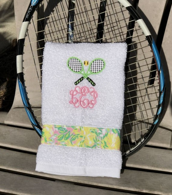 Tennis Gift Hand Towel Personalized Monogram And Rackets Lilly
