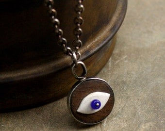 Eye Necklace in Sterling Silver, Walnut, Vintage Faux Ivory and Glass