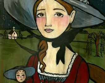 8x10 PRINT Cecily Early American folk art print girl with doll