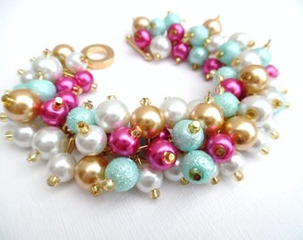 Pearl Beaded Bracelet in Hot Pink Aqua and White, Pink Bridesmaid Jewelry, Cluster Bracelet, Summer Wedding Jewelry, Hot Pink Wedding Theme