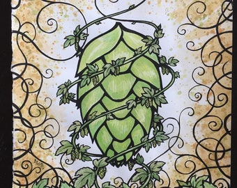 Hops Glory - The Growler issue 7 original cover painting