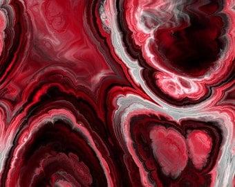 Artisan Vibrant Red White Black Soft Minky Fabric By The Yard Fiber Art Blanket Home Decor Craft