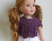 14.5 Inch Doll Clothes Crocheted Sweater Top Handmade to fit the Wellie Wishers and other similar dolls - Purple Plum