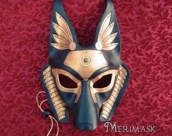 READY TO SHIP Industrial Anubis Leather Mask ... handmade steampunk egyptian jackal masquerade mask Halloween Mardi Gras Burning Man