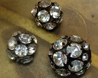Vintage Rhinestone Bead Balls Jewelry Supply