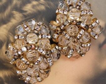 Vintage Earrings Clip On Glass Beads Rhinestone Spacer