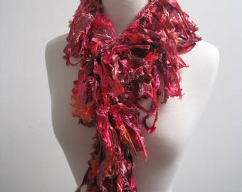 """red orange boa, red orange scarf, hand painted scarf, ribbon scarf, ribbon boa, spring scarf, mother's day gift """"delectable"""""""