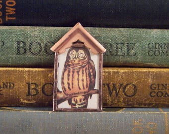 Owl Birdhouse Pendant - Rustic Owl Pendant - Mixed Media Pendant - Copper Owl Charm - Soldered Glass Pendant - Bird Watcher Gift