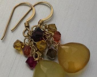 Amber Chalcedony Cluster Earrings