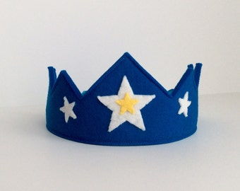 Wool Felt Crown-- turquoise Star Child crown in 100% merino wool with hand stitched details
