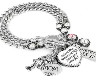 Mother of the Bride, Bride's Mom, Gift for Mom, Mother of the Bride Gift, Wedding Jewelry, Jewelry for Mom, Forever Your Little Girl