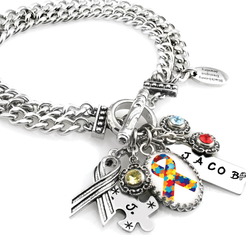Customized Charm Bracelet: Autism Awareness Charm Bracelet Autism Jewelry Customized