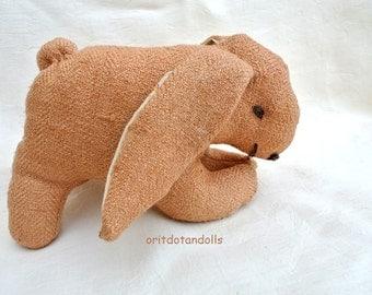Bunny soft toy made of silk, stuffed with merino wool 7inch/17.5cm length, 4.5inch/11cm