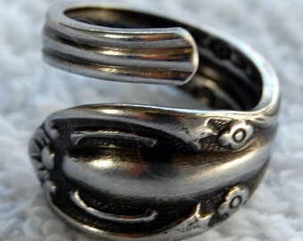 Spoon Ring, deep patina, size 5 to 8