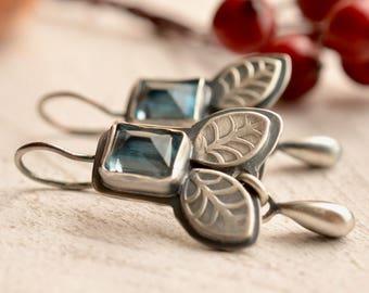 Silver Blue Topaz Earrings, Birthstone Earrings, Gemstone Earrings, Botanical Silver Earrings, Fabricated Silver Earrings