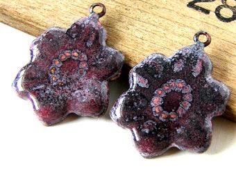 Purple Flower Enamel Charms