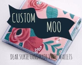 Custom Handmade Vinyl Square Moo Card Holder, snap wallet, custom wallet, card case, pocket wallet, small, vinyl, paper, moo, mini, cute