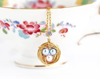 New Mom Gift - Blue and PInk Eggs - Bird Nest Necklace - Push Present - Pearl Eggs - Gold Nest Necklace - Wire Nest Necklace For Mother