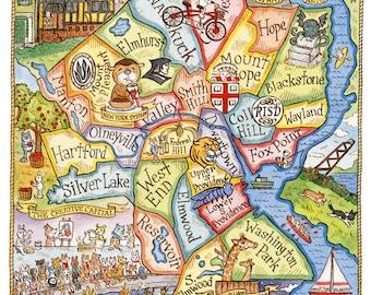 "Providence Rhode Island Art Map 16"" x 20"""