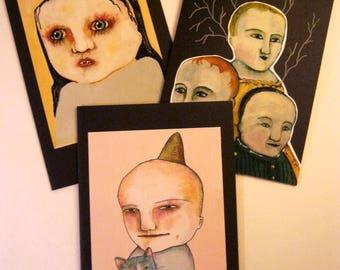 LARGE greeting cards- sandy mastroni, handmade,  three card set