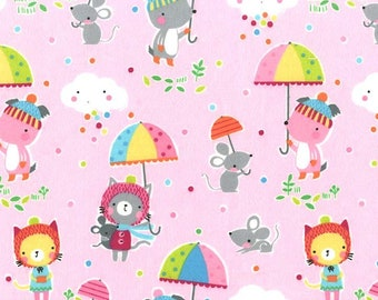 """Michael Miller Fabrics,  """"Puddle Play"""" on pink FLANNEL, yard"""