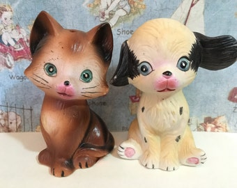 VERY RARE Vintage Cat and Dog Anthropomorphic Salt and Pepper Shakers Antique Collectibles or Cake Toppers