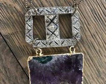 Vintage rhinestone and modern amethyst druzy pendant one of a kind repurposed necklace