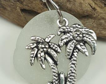 Sea Glass Necklace Sea Glass Jewelry Frosty White Sea Glass Charm Necklace Sea Glass Necklace Sea Glass Jewelry N-521