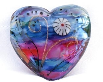 Large Silver Pink Blue Silver Glass Heart Focal Handmade Lampwork Beads by Beadfairy Lampwork, SRA