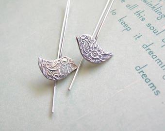 Little Bird Drop Earrings - sterling silver modern bird earrings