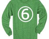 Sixth Birthday Long Sleeve Heather Green Kids T-Shirt