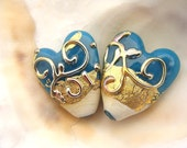 Golden Blue Handmade Lampwork Heart Bead Pair