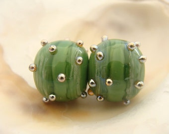 Hollow Green Handmade Lampwork Bead Pair