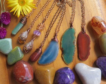 Long Gypsy Crystal Necklace - Agate  Pendant - Raw Citrine & Amethyst - Aquamarine Pointed - Red Jasper - Copper Chain - Gemstone Stone Boho