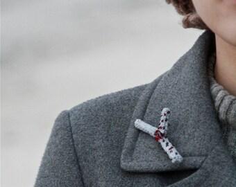 Crochet twig brooch - textile brooch - crochet pin