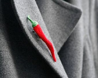 Red hot chili pepper brooch - crochet brooch - whimsical jewelry