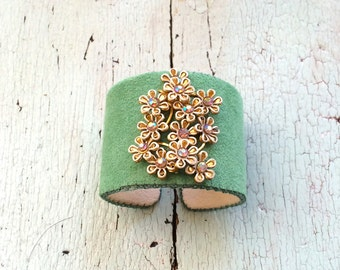 Green Adjustable Cuff with Delicate Flowers