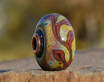 Autumn Vines  - K O Lampwork - Big Hole European Style Charm Bead
