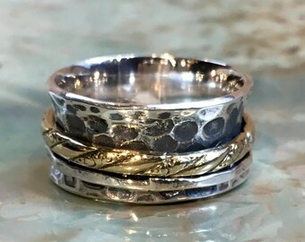 Silver wedding band, bohemian spinner ring, anxiety ring, boho ring, two toned ring, gypsy ring, unisex wide band - One More Night R2495