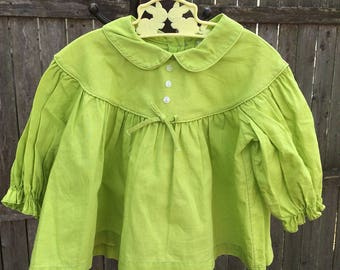 Vintage chartreuse green cotton Peter Pan collar dress tunic size 18 - 24 months