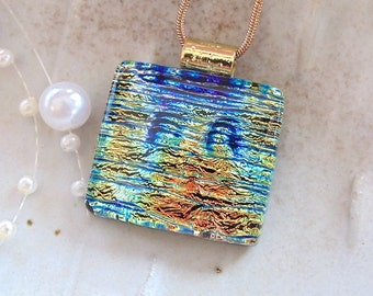 Copper, Blue Necklace, Gold, Dichroic Pendant, Glass Jewelry, Fused Glass, Necklace Included, A12
