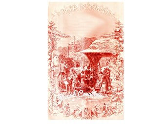 "Victorian Christmas Scene Godey's Lady's Book Digital Image from 1870 10"" x 6.3""  Red Tinted Christmas Scene"