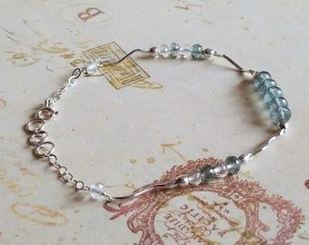 Aquamarine, Crystal Quartz, Sterling Silver Bracelet, Handmade Jewelry