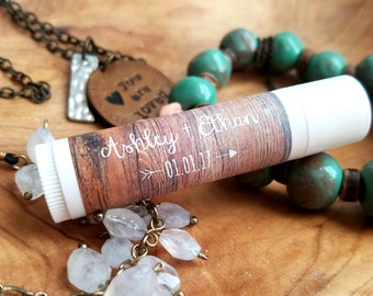 Personalized Lip Balm Stickers -- Wood -- Custom Chapstick Labels, Shower Favors, Wedding Favors
